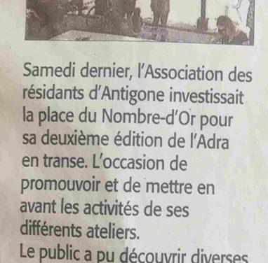 Article Midi Libre Adra en Transe samedi 9 Juin 2018