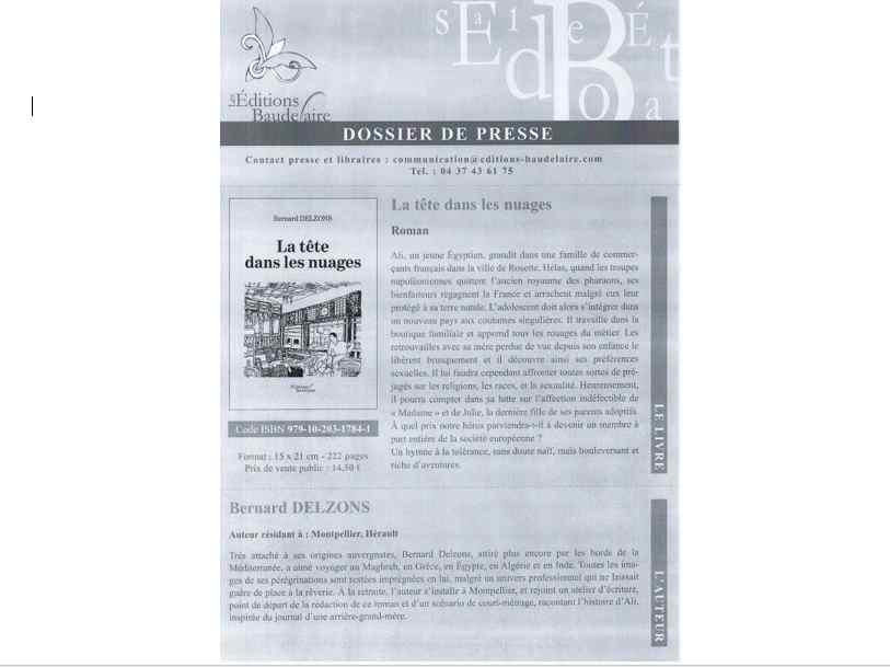 La tête dans les nuages – Nouveau Livre – Bernard DELZONS