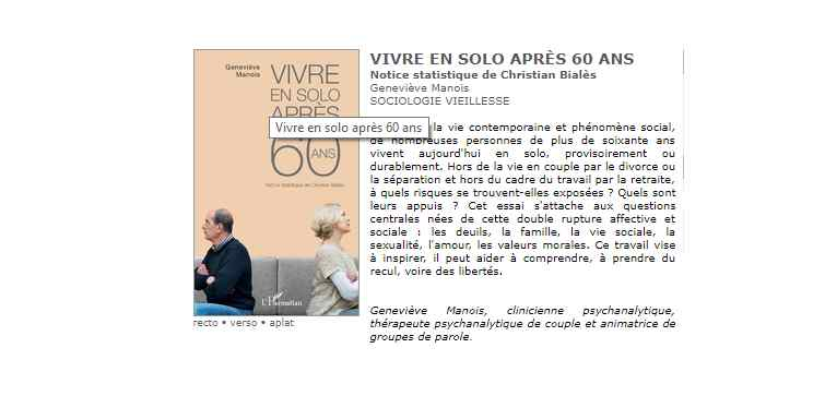 «Vivre en solo après 60 ans» nouveau livre de Geneviève Manois