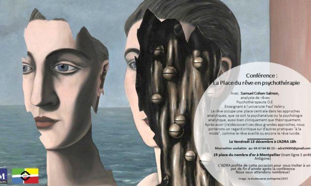 Conférence :»la place du rêve en psychothérapie» le 13 décembre